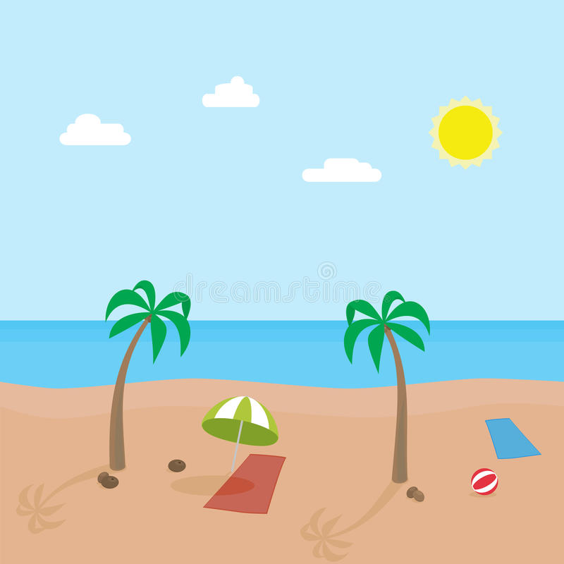 tropic scene of sunny beach with different objects vector cartoon rh dreamstime com cartoon beach scene clipart cartoon beach scene with people