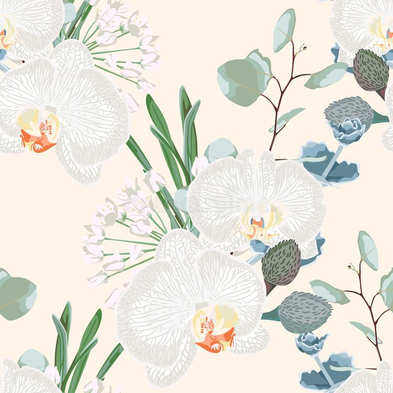 Tropic summer painting seamless pattern with eucaliptus, herbs and white orchid flowers. royalty free illustration