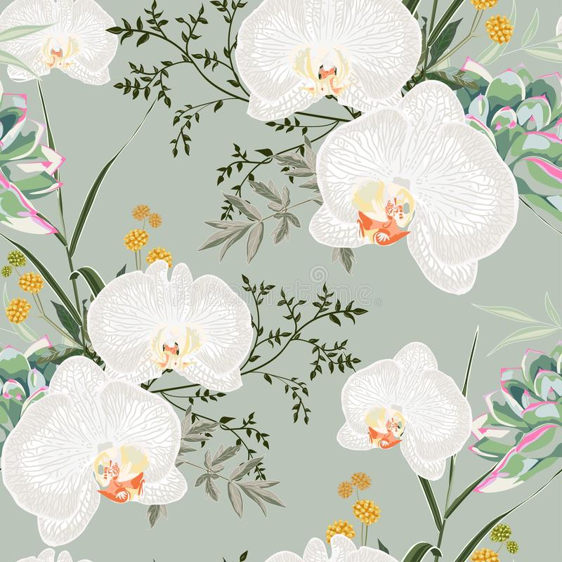Tropic summer painting seamless pattern with eucaliptus, herbs and white orchid flowers. vector illustration