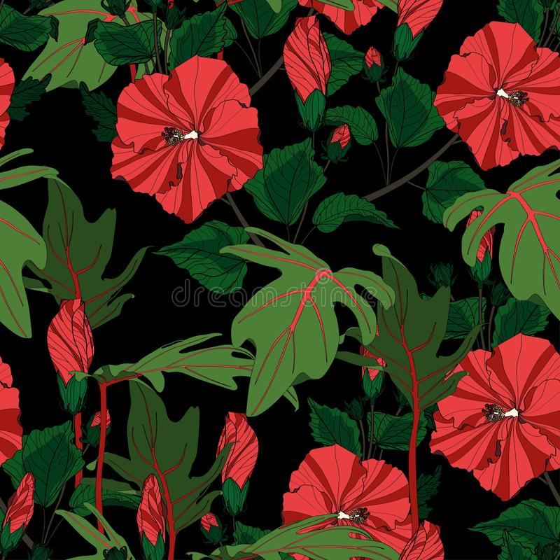Tropic summer painting seamless pattern with exotic leaves and red hibiscus flowers branch. vector illustration