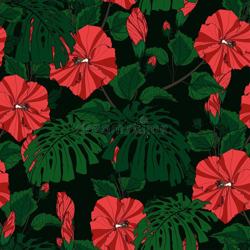 Tropic summer painting seamless pattern with monstera leaves and red hibiscus flowers branch. vector illustration