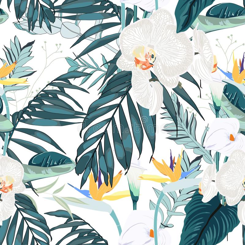 Tropic summer painting seamless pattern with palm leaf and white orchid flowers. stock illustration