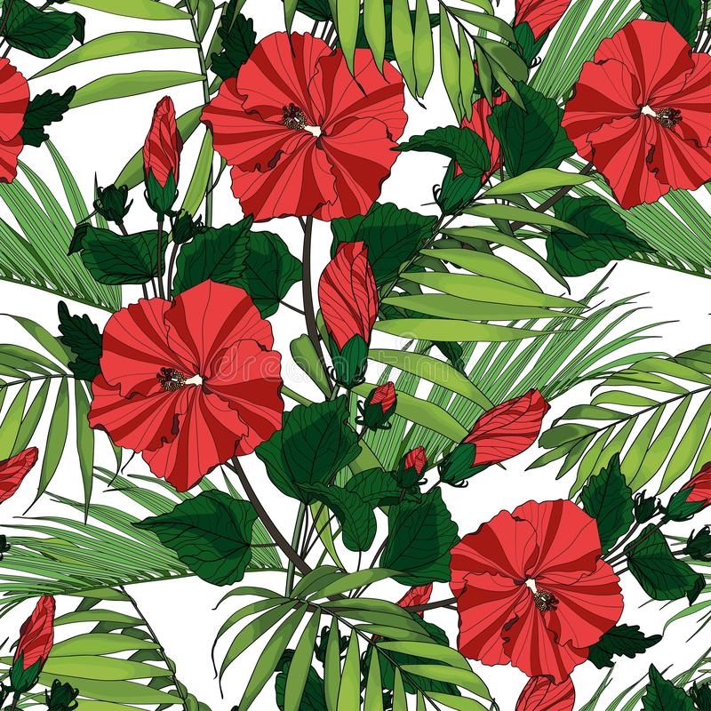 Tropic summer painting seamless pattern with palm leaves and red hibiscus flowers branch. vector illustration
