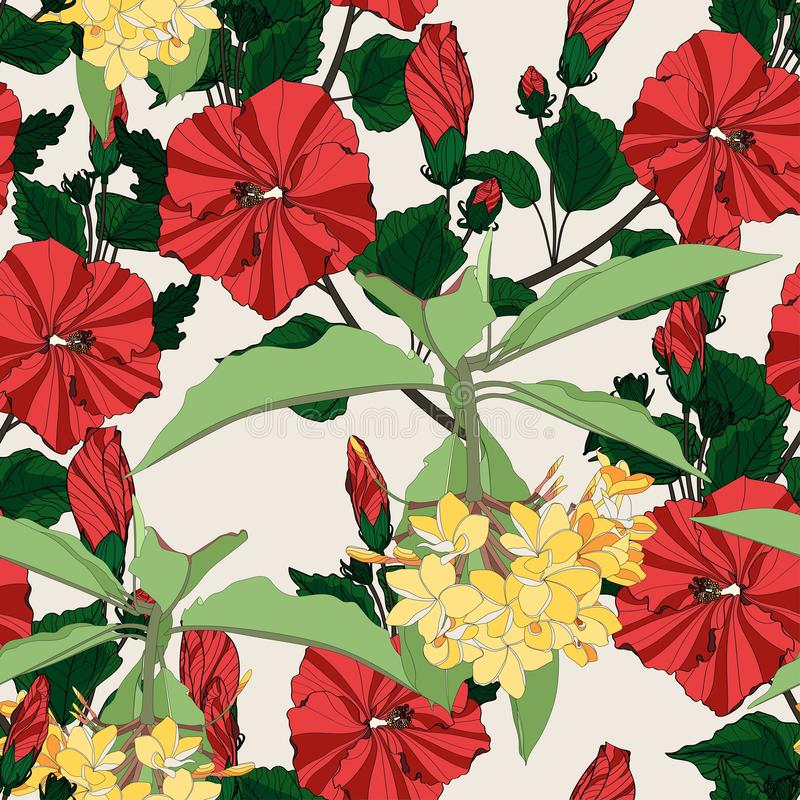 Tropic summer painting seamless pattern with palm leaves and yellow plumeria flowers branch. vector illustration