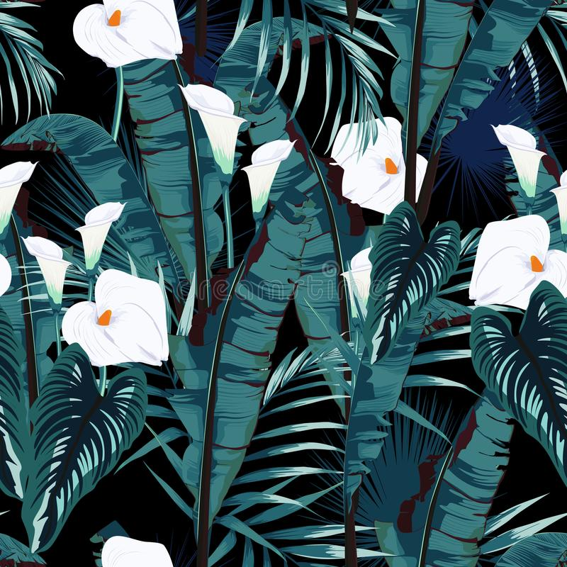 Tropic summer painting seamless vector pattern with palm banana leaf and plants. Floral jungle callas lilies paradise flowers. vector illustration