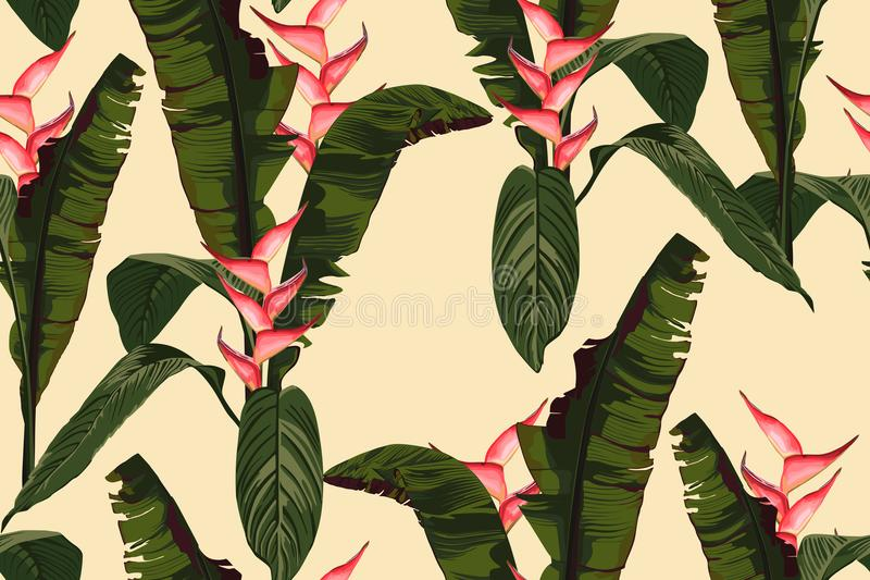 Tropic summer painting seamless vector pattern with palm banana leaf and plants. Floral jungle heliconia paradise flowers. Trendy bunch exotic wallpaper on stock illustration