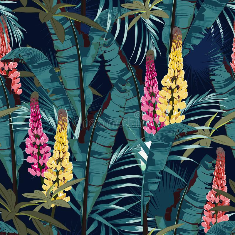 Tropic summer painting seamless vector pattern with palm banana leaf and plants. Floral jungle lupines paradise flowers. stock illustration