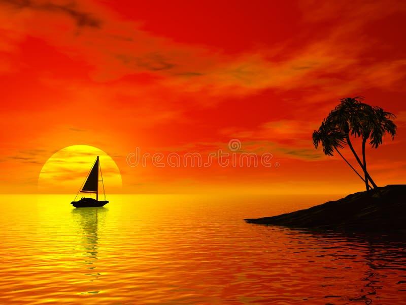 Tropic sunset royalty free illustration