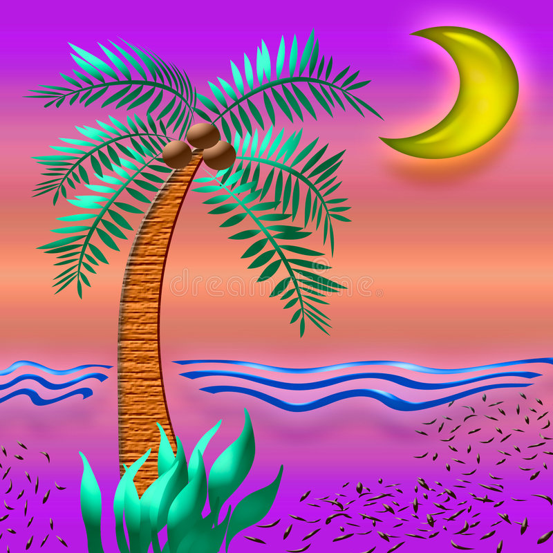 Tropic sunset color royalty free illustration