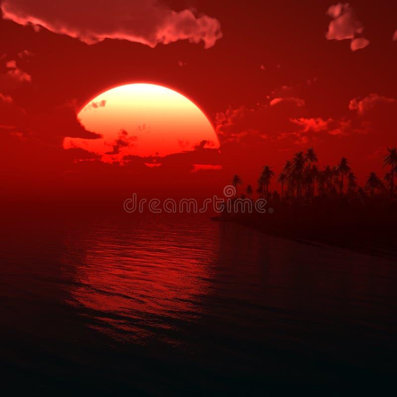 Tropic Sunset Illustration royalty free stock photos