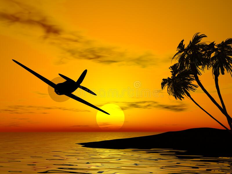 Tropic sunset and plane stock photography