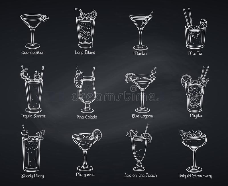 Tropical alcoholic cocklails vector illustration
