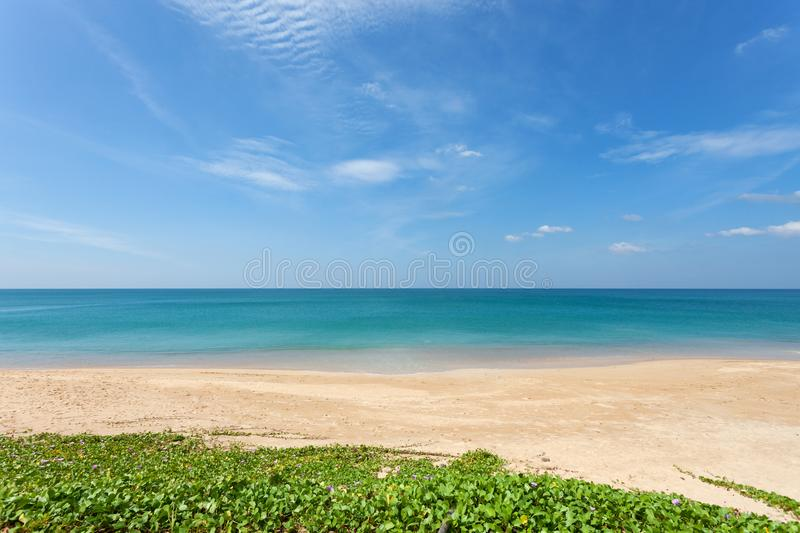 Tropical andaman seascape scenic off mai khao beach in phuket th. Ailand,can be used for air transport to travel and open season to travel background royalty free stock image