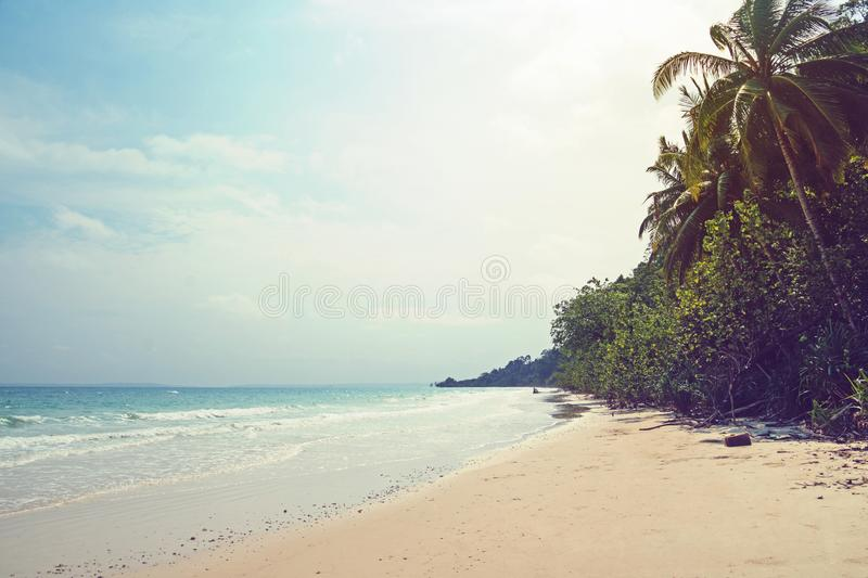 Tropical andaman seascape scenic off mai khao beach. And wave crashing on sandy shore in phuket thailand,can be used for air transport to travel and open season royalty free stock photos