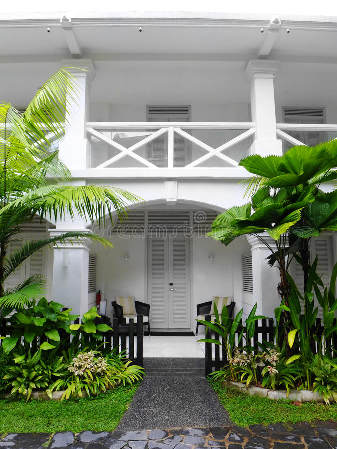 Tropical Antique Colonial House With Landscaping Stock Image Image