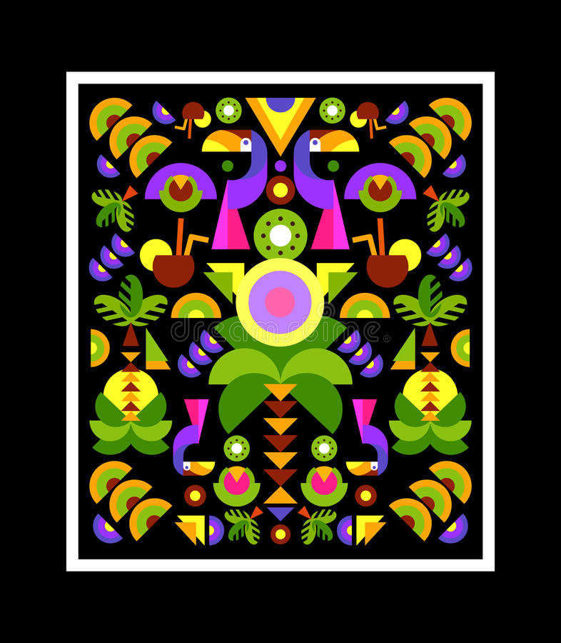 Tropical Applique, print on t-shirt stock illustration