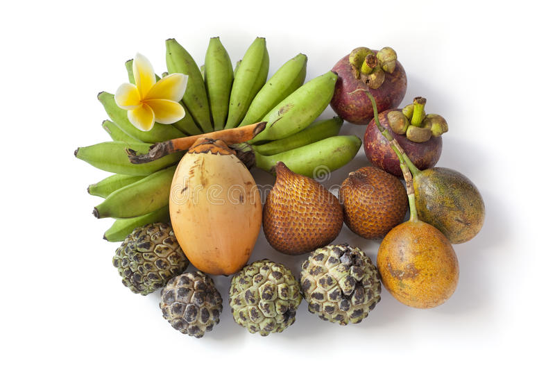 Tropical assorted fruit from Bali stock photography