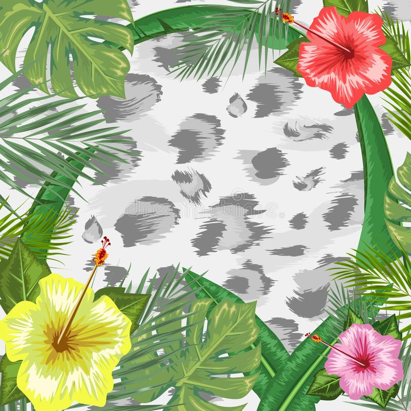 Tropical backdrop with frame or border made of tropical flower and leaves and place for text and leopard skin background stock illustration