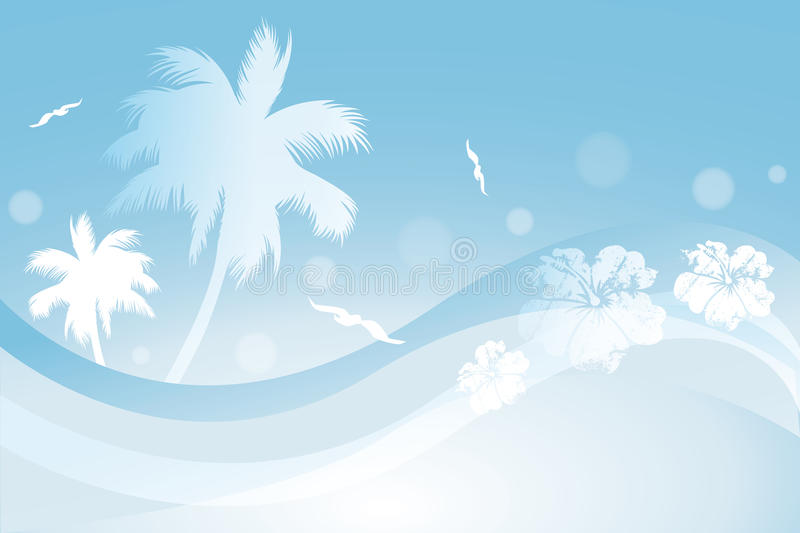 Tropical background. In blue colors - illustration vector illustration