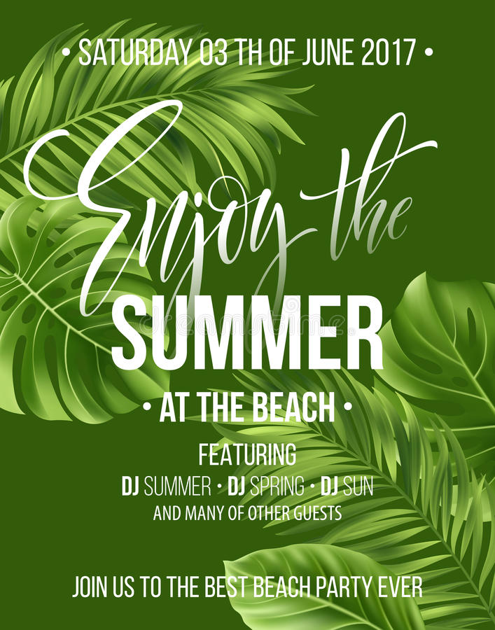 Tropical background with exotic palm leaves. Enjoy the summer party poster or flyer design. Vector illustration royalty free illustration