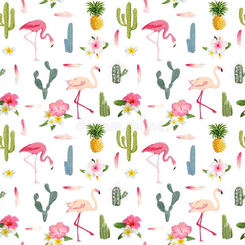 Tropical Background. Flamingo Bird. Cactus Background vector illustration
