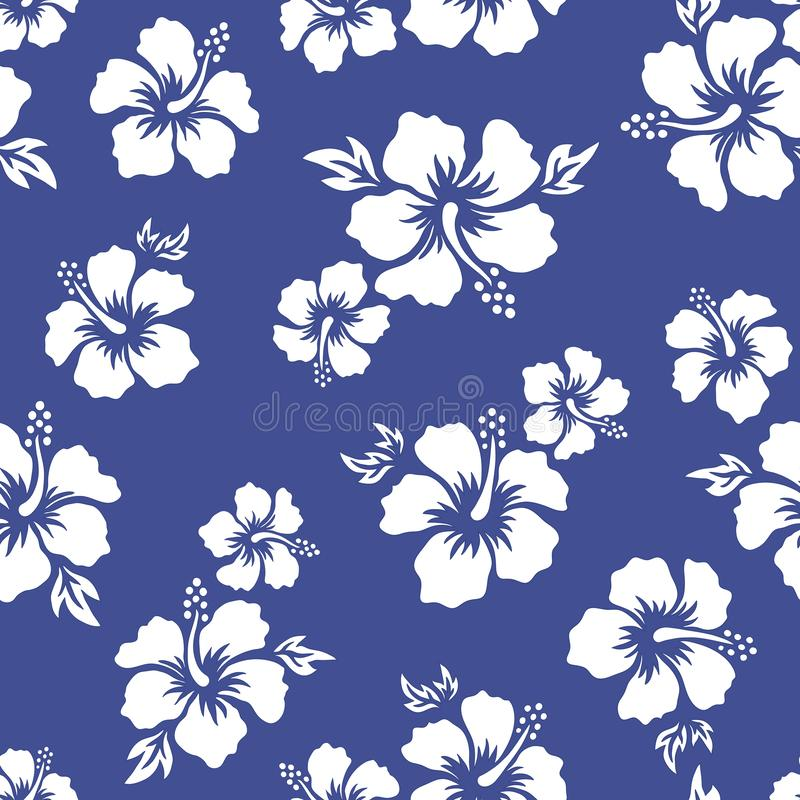 Tropical background with hibiscus flowers. Seamless hawaiian pattern. Exotic vector illustration royalty free illustration