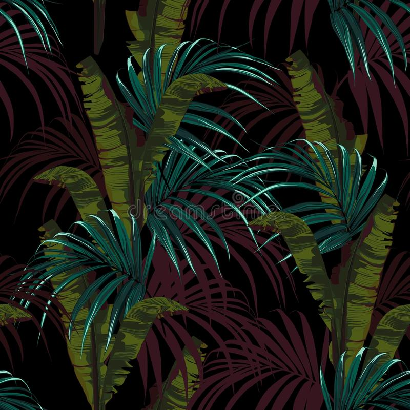 Tropical background with jungle plants. Seamless vector tropical pattern with blue palm leaves and green bananas leaves. Dark background vector illustration
