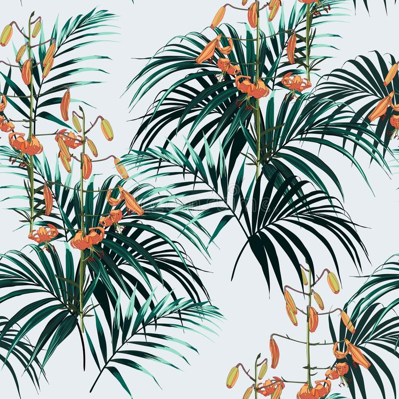 Seamless vector tropical pattern with dark green palm leaves and tropical orange lilies flowers on light background. royalty free illustration