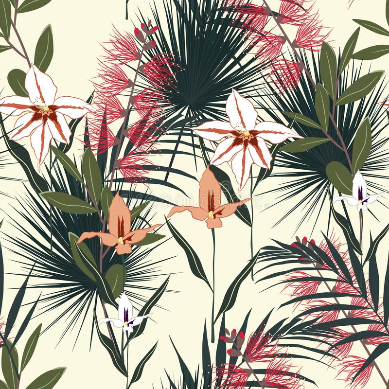 Tropical background with jungle plants. Seamless vector tropical pattern with palm leaves and exotic orchid and protea flowers. vector illustration