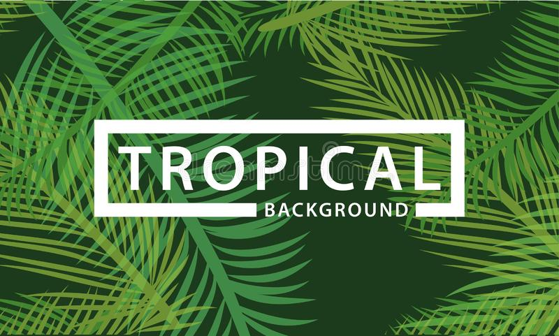 Tropical background palm and coconut leaves. Tropical background palm and coconut leave with pattern and layered royalty free illustration