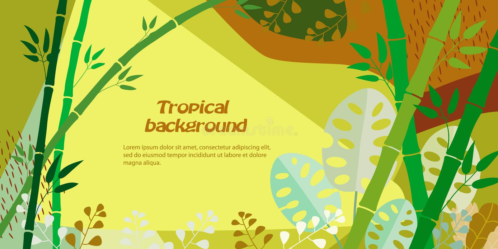 Tropical background with stalks of bamboo, monstera, jungle foliage. Vector illustration. Template for cover, advertising, web royalty free illustration