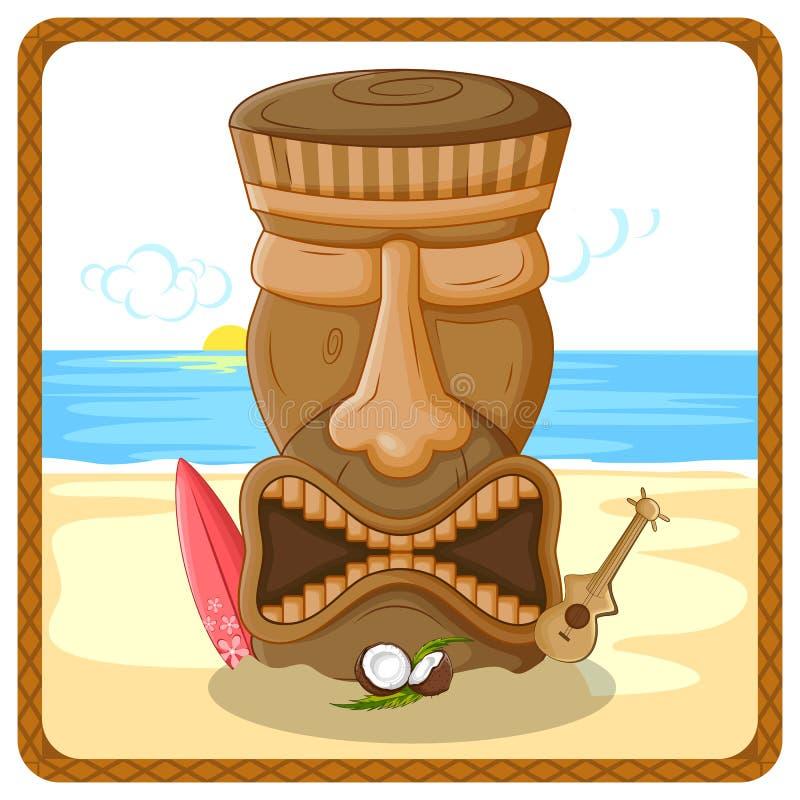 Tropical background with tribal Tiki mask. Vector design of tropical background with tribal Tiki mask royalty free illustration