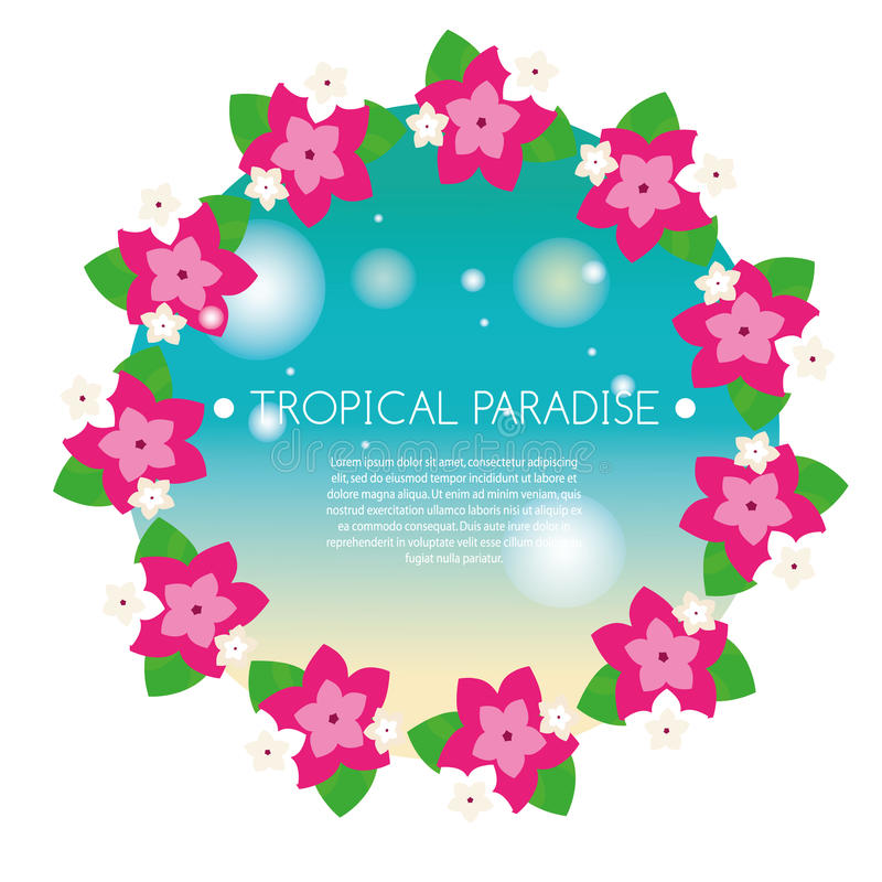 Tropical banner with exotic orchid flowers round wreath. Vector illustration. Design template for summer party invitation, spa sal. Tropical banner with exotic stock illustration