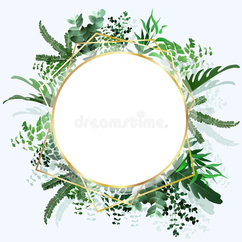 Tropical banner with green palm leaves on white background. Seasonal poster in trendy paper cut style. Design template for print stock illustration