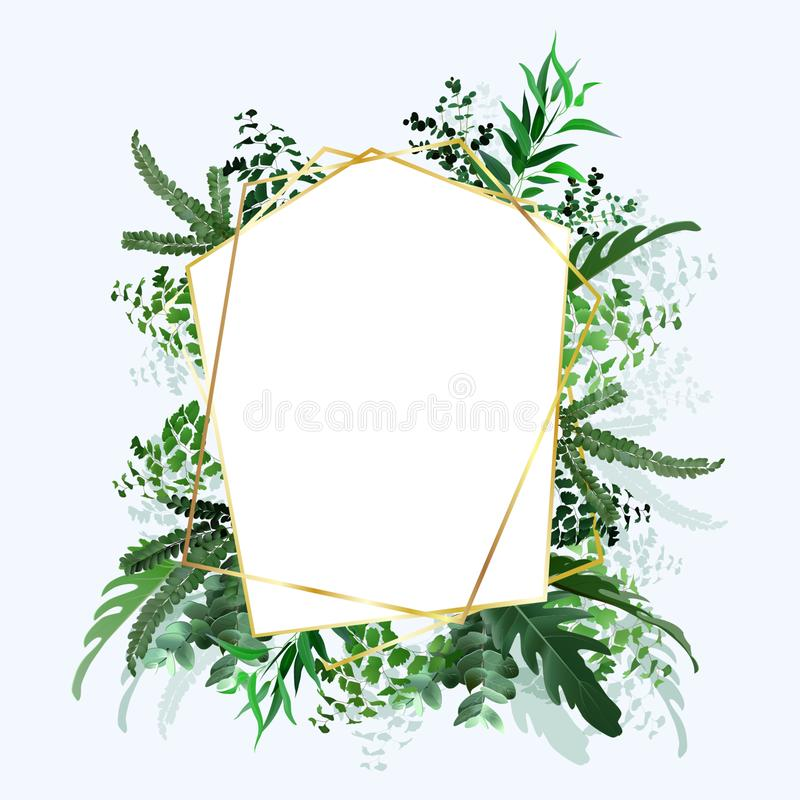 Tropical banner with green palm leaves on white background. Seasonal poster in trendy paper cut style. Design template for print royalty free illustration