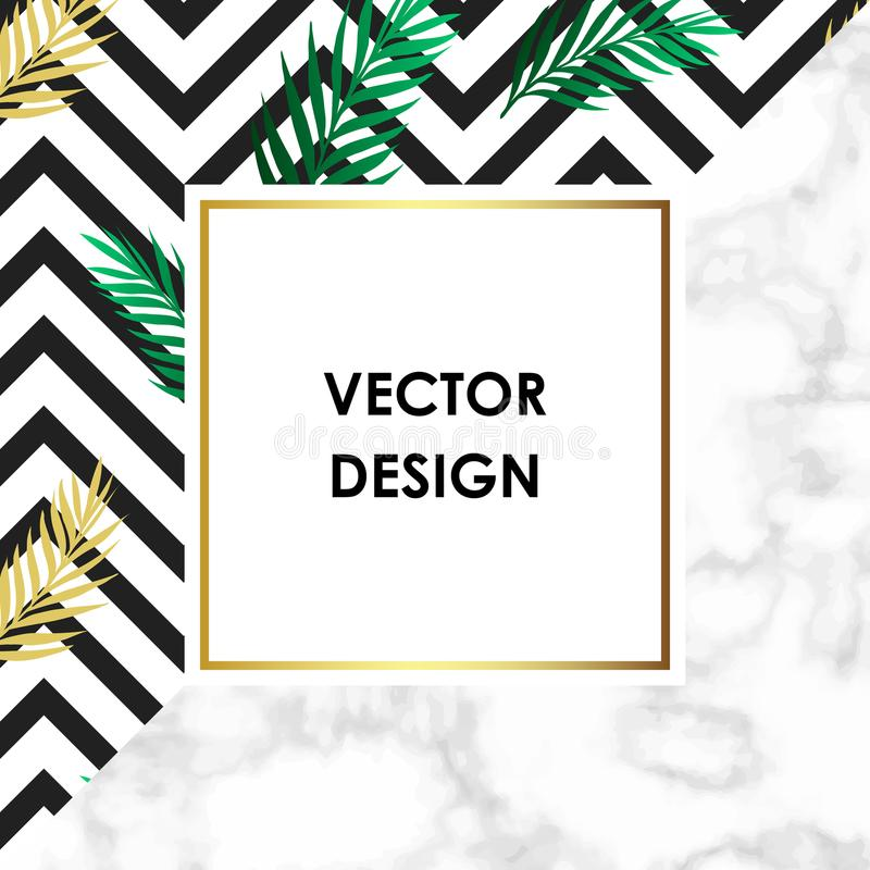 Tropical banner with jungle rainforest bright green leaf and marble texture background with gold frame. Text placeholder. Backgrou stock illustration