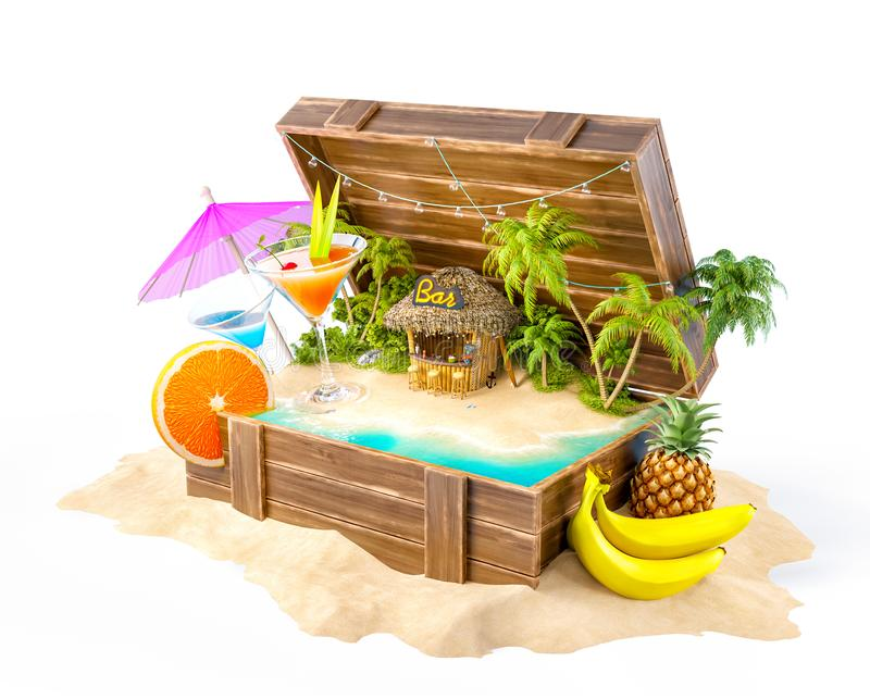 Tropical bar with cocktails. And fresh fruits on the island inside opened wooden box on a pile of sand. Unusual party illustration. Isolated royalty free illustration