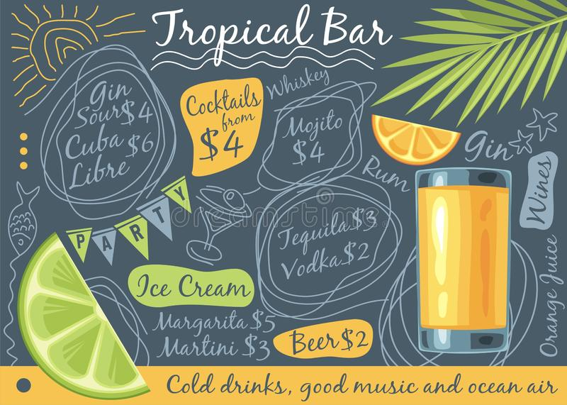 Tropical bar menu design. With glass of orange juice, palm tree leaf and tropical fruits. Doodle drawings menu concept. Summer beach relaxing vector stock illustration