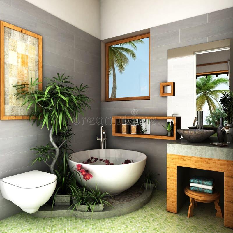 Download Tropical Bathroom Stock Illustration Of Bathtub