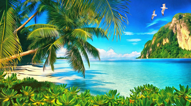 Tropical bay with green plants, palms and seagulls royalty free stock photos
