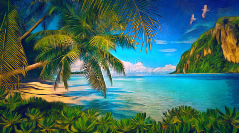 Tropical bay with green plants, palms and seagulls royalty free stock image