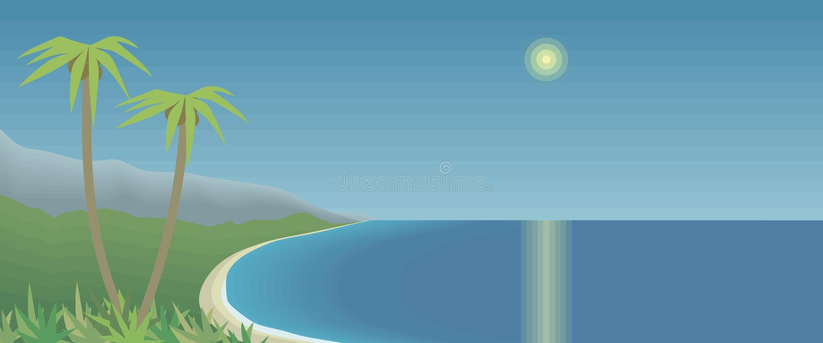 Tropical bay with palm trees and mountains azure sea sky sun glare sunny path reflection horizontal postcard drawing vector illust vector illustration