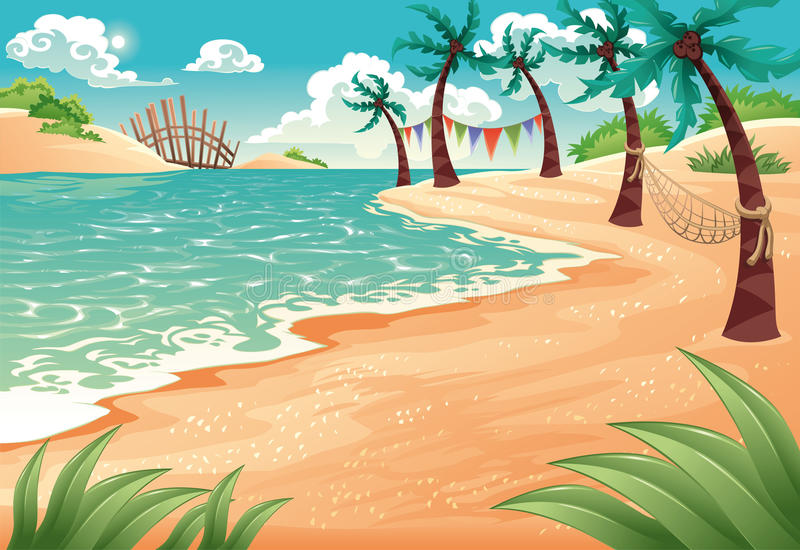 Tropical beach. Colorful illustration of coconut palm trees lining tropical beach in summer vector illustration