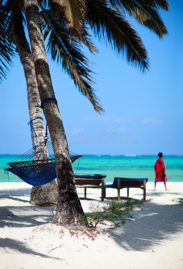 Tropical beach. Of Zanzibar island with palm trees and hammock. Masai warrior on background royalty free stock photos