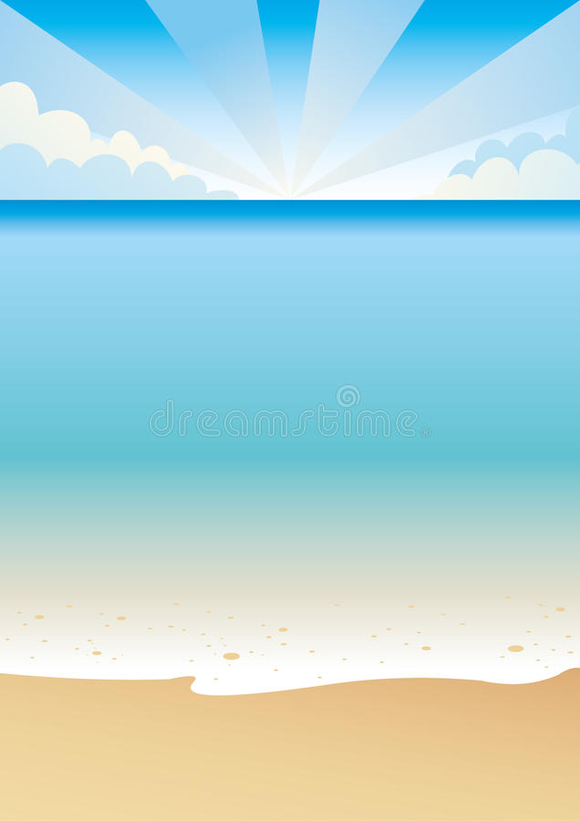Tropical beach. Scene with sand sea and blue sky vector illustration
