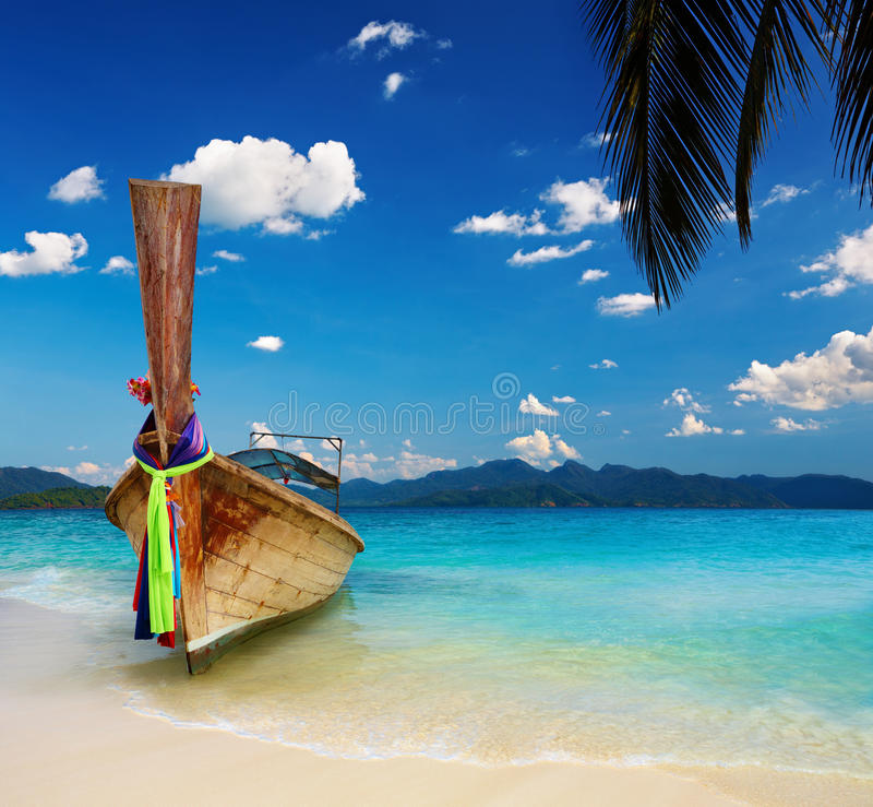 Download Tropical beach stock image. Image of boat, beach, palm - 20270969