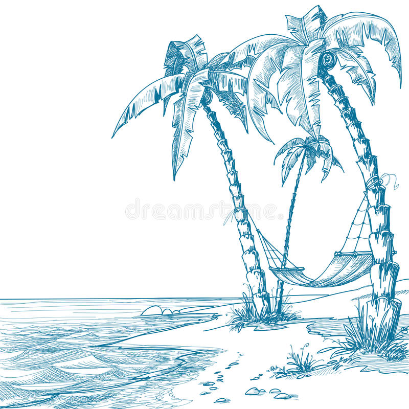 Tropical beach. With palm trees and hammock stock illustration