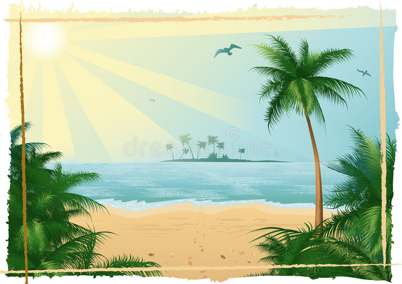 Download Tropical beach stock vector. Image of pattern, painting - 3495022