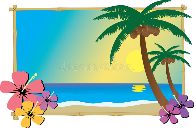 Tropical Beach. A beach at sunset with palm trees and hibiscus flowers