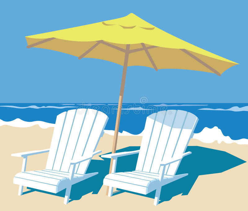 Tropical beach. Lounge chairs and parasol on the beach. vector illustration